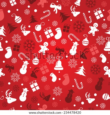 Christmas background, seamless tiling, great choice for wrapping paper pattern - vector - stock vector