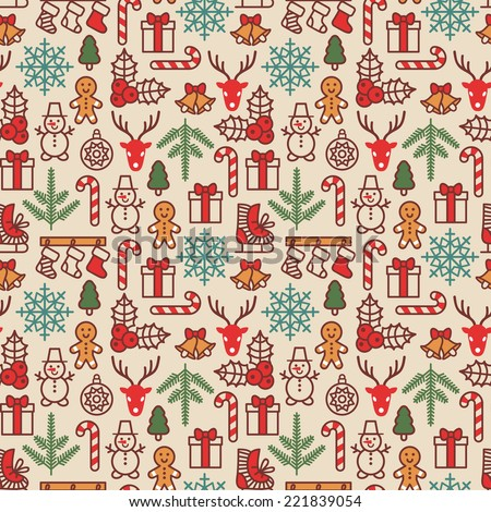Christmas background, seamless tiling. Vector illustration. Wrapping paper pattern in vintage style. Cute Xmas characters. Deer head. Snowman in hat. Gingerbread man. New Year icons. - stock vector