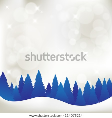 christmas background, shining background and snowy forest - stock vector