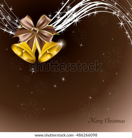 Christmas Background. Shiny Brown Illustration with Christmas Bells.