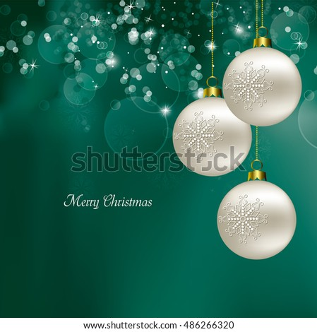 Christmas Background. Shiny Turquoise Illustration with Christmas Ornaments.