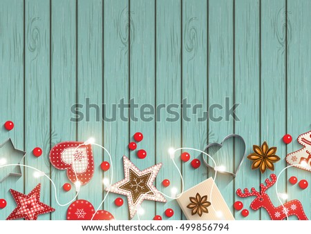 Christmas background, small scandinavian styled red decorations iluminated by electric decorative lights lying on blue wooden desk, inspired by flat lay style, vector illustration, eps 10 with
