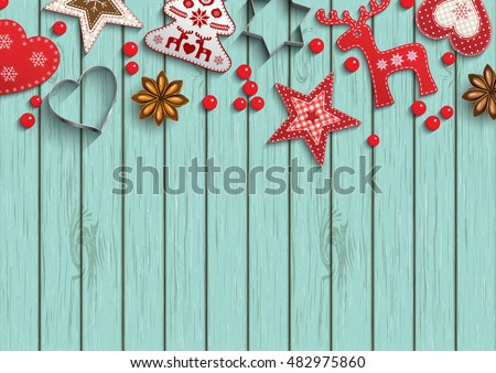 Christmas background, small scandinavian styled red decorations lying on blue wooden background, inspired by flat lay style, vector illustration, eps 10 with transparency