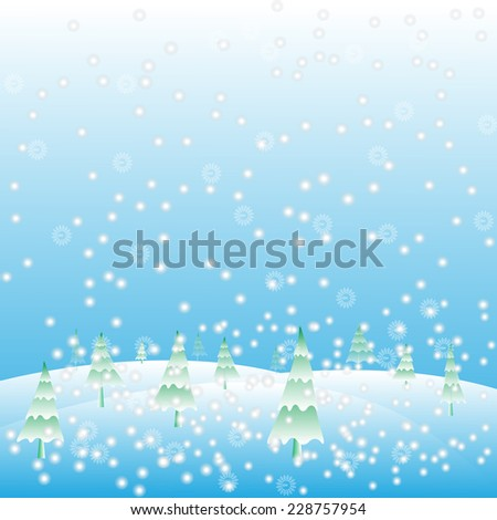 Christmas background snow and pine tree Vector.