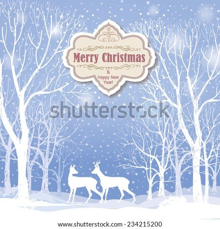 Christmas background. Snow winter landscape with deers.  Retro Merry Christmas greeting card. - stock vector