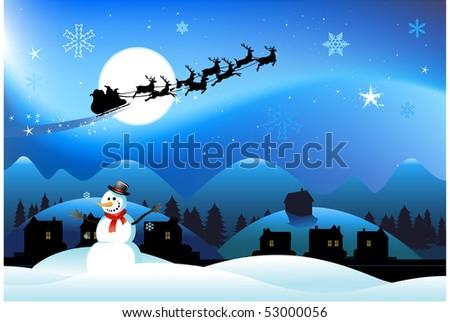 Christmas background snowman - stock vector