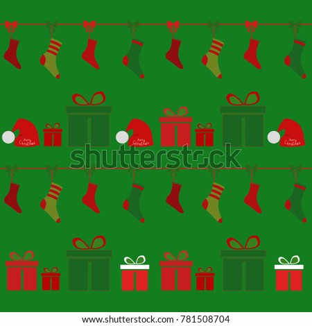 Christmas background, socks and Souvenirs in boxes,vector illustration