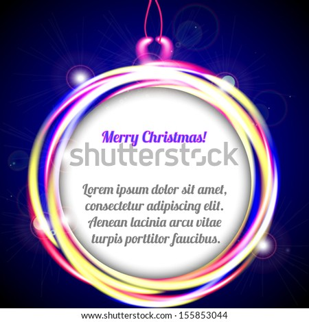 Christmas background. Sparkling Christmas ball with space for text. Vector illustration - stock vector
