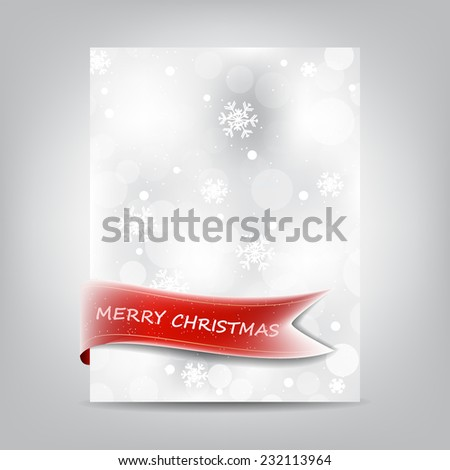 Christmas background template, paper banner with red ribbon and snowflake/editable vector design with place for your content or creative editing - stock vector