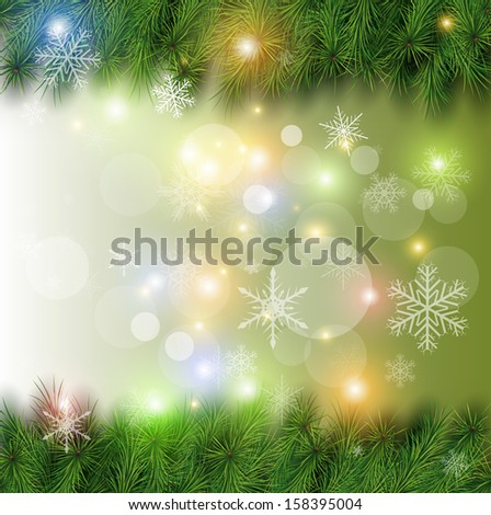 Christmas background, vector Christmas tree, snow and lights. - stock vector