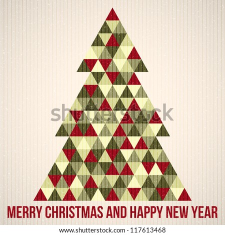 Christmas background. Vector illustration. Merry Christmas. Happy New Year. Vector pattern. Vintage vector. Christmas tree. Paper texture. Realistic cardboard - stock vector