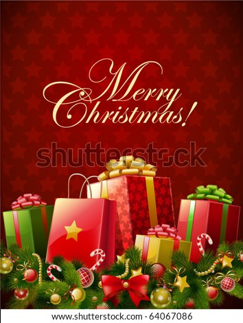 Christmas background  vector image - stock vector