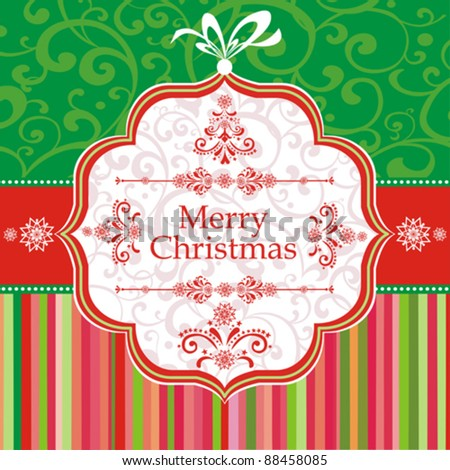Christmas background vector image. Xmas card. Template frame. Vector Illustration