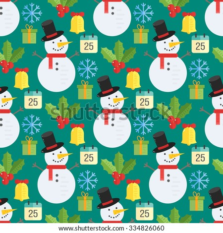 Christmas background, vector seamless pattern with christmas elements: mistletoe, snowman, gift, bell, calendar and snowflakes. Great for cards and wrapping paper - stock vector