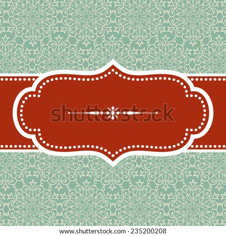 Christmas Background - Vintage frame design with snowflake text divider on damask background.  Damask background swatch is included in swatches panel.  Colors are global for easy editing.   - stock vector