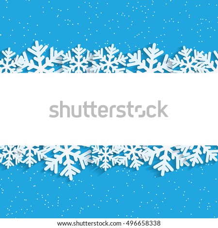 Christmas background.White snowflakes on blue background.Background for New Year's greetings.Winter abstraction