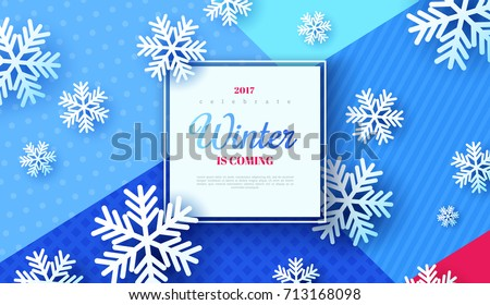 Christmas background, white snowflakes on blue. Vector illustration. Square frame on trendy geometric backdrop. Winter template design for posters, flyers, brochures or vouchers.