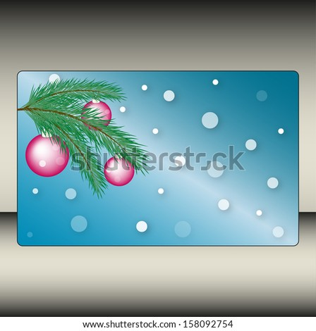 Christmas background with a fur-tree branch and balls