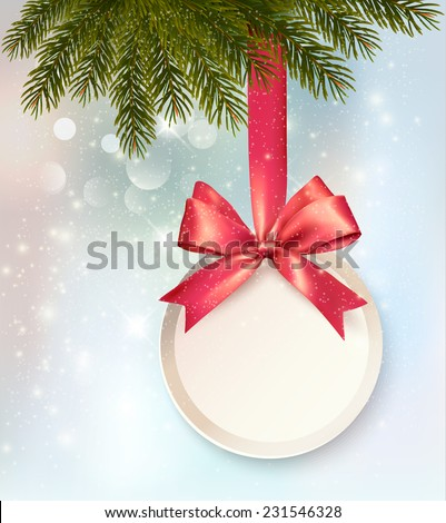 Christmas background with a label and a bow. Vector. - stock vector