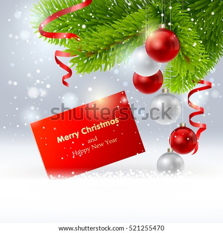 Christmas background with a red card, ribbon, ball and fir in snow. Vector  EPS 10.