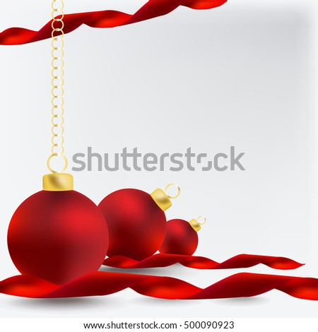 Christmas background with a red ornament, Vector Illustration.