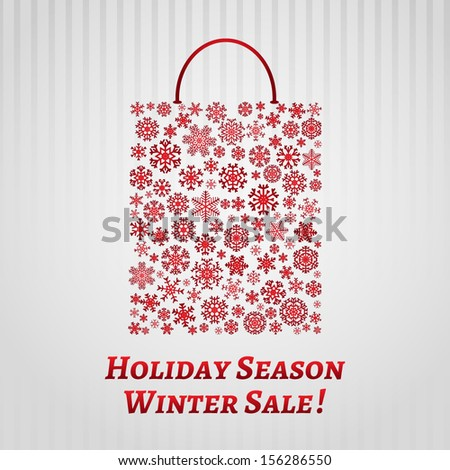 Christmas background with a shopping bag from red snowflakes on white striped background - stock vector