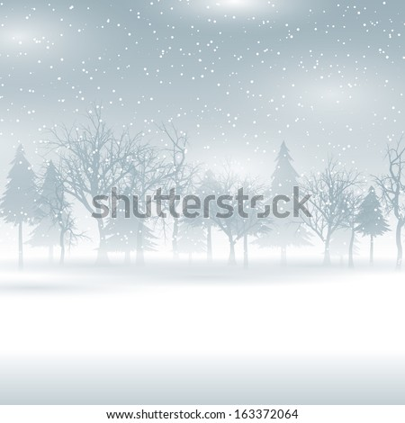 Christmas background with a snowy winter landscape - stock vector