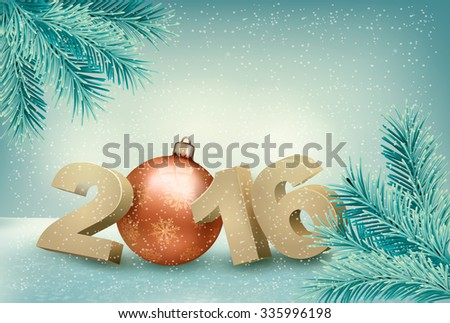 Christmas background with a 2016. Vector.  - stock vector