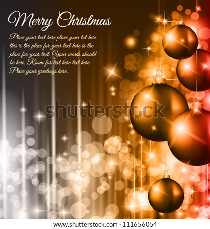 Christmas Background with a waterfall of ray lights with bright stars and a lot of Baubles with a gold rope. - stock vector