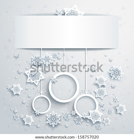 Christmas background with abstract balls with place for text - stock vector