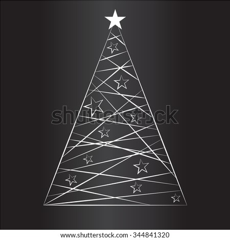 Christmas background with abstract Christmas tree. Vector illustration. - stock vector