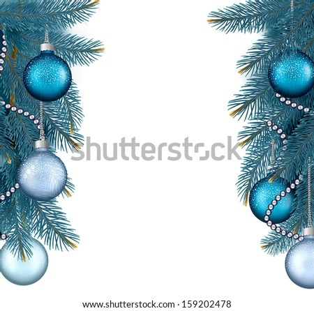 Christmas background with balls and branches. Raster version. - stock vector