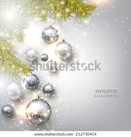 Christmas background with balls. Colorful Xmas baubles. Vector