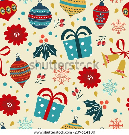 Christmas background with balls, gifts, flowers. Vector illustration - stock vector