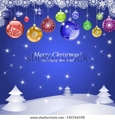 Christmas background with balls, trees and sparkles. - stock vector
