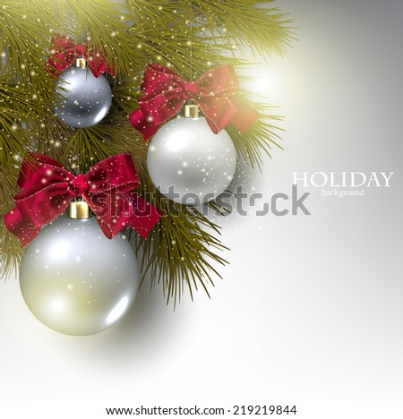 Christmas background with balls.  Xmas baubles. Vector - stock vector