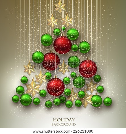 Christmas background with balls. Xmas tree made from colorful baubles and stars. Vector - stock vector