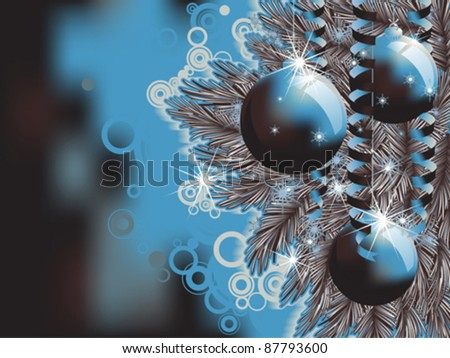 christmas background with baubles and christmas tree branch eps8