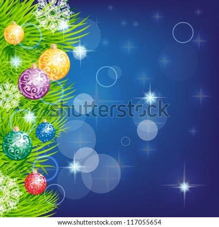 christmas background with baubles and christmas tree for design, vector - stock vector