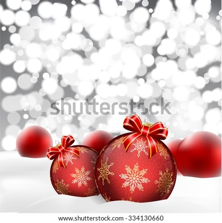 Christmas background with baubles blurred. vector