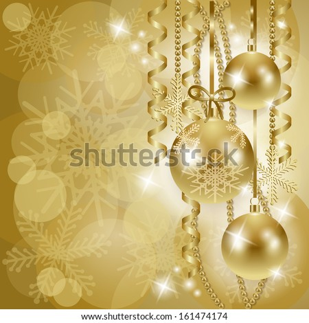 Christmas background with baubles in gold, vector