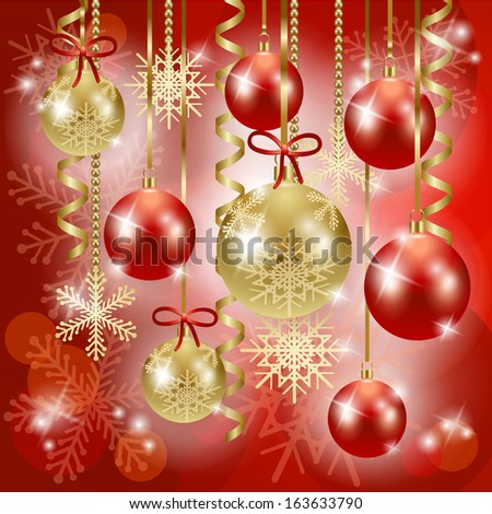 Christmas background with baubles in red, vector - stock vector