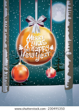Christmas background with baubles. Merry Christmas and Happy New Year. - stock vector