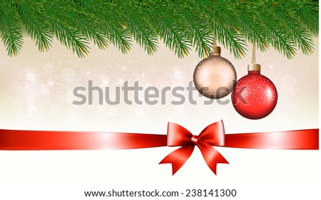 Christmas background with baubles, pine branches and ribbon with bow. Vector illustration. - stock vector