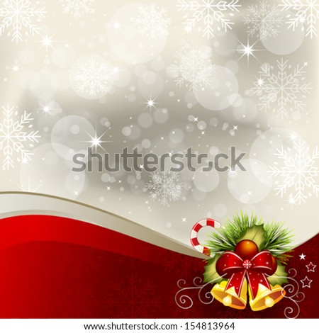 Christmas background with bells and decorative bow - stock vector