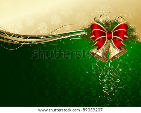 Christmas background with bells, bow, stars and snowflakes, illustration - stock vector