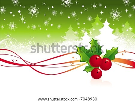Christmas background with berry - stock vector