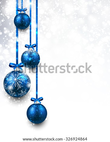 Christmas background with blue balls. Vector Illustration. - stock vector