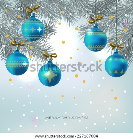 Christmas background with blue decoration balls hanging on fir tree