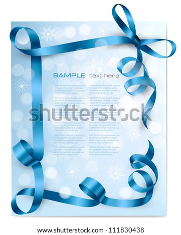 Christmas background with blue gift bow with blue ribbons. Vector - stock vector